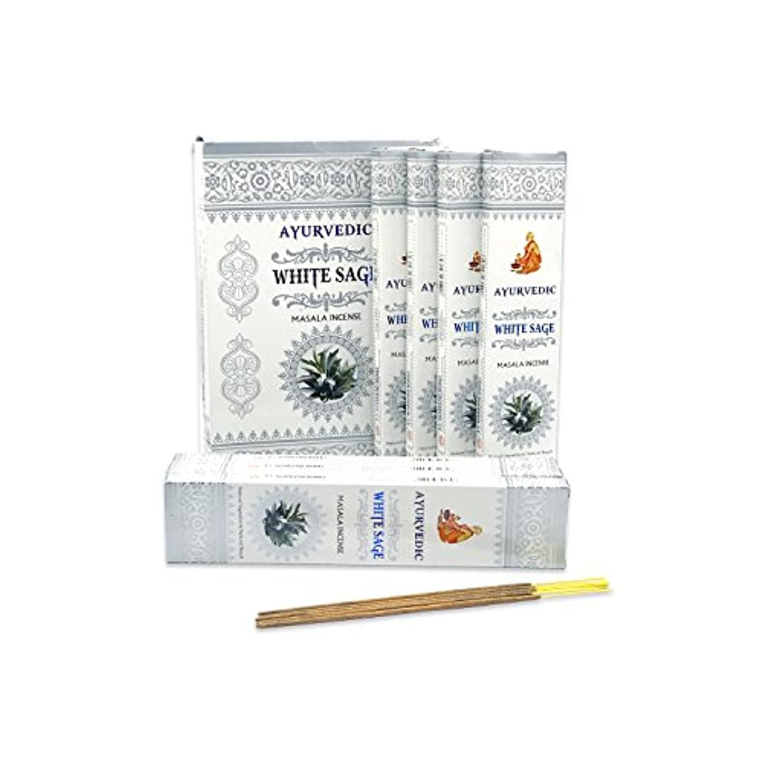火傷ポンプ手順AyurvedicホワイトセージMasala Incense Sticks Agarbatti (12パックcontaining 15 sticks各)