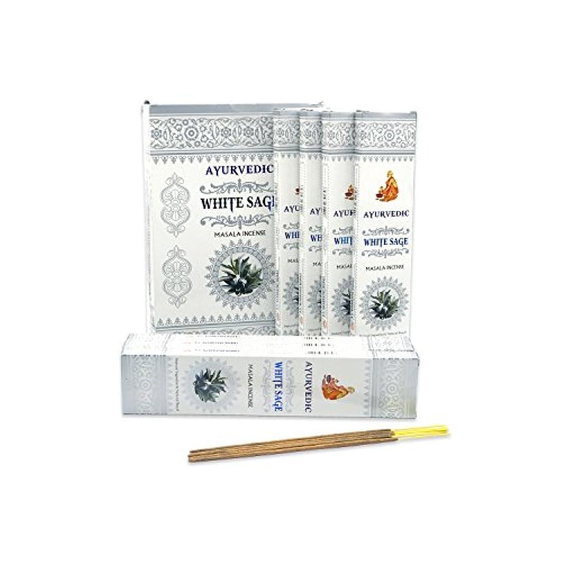 ゆりかご市民権パターンAyurvedicホワイトセージMasala Incense Sticks Agarbatti (12パックcontaining 15 sticks各)