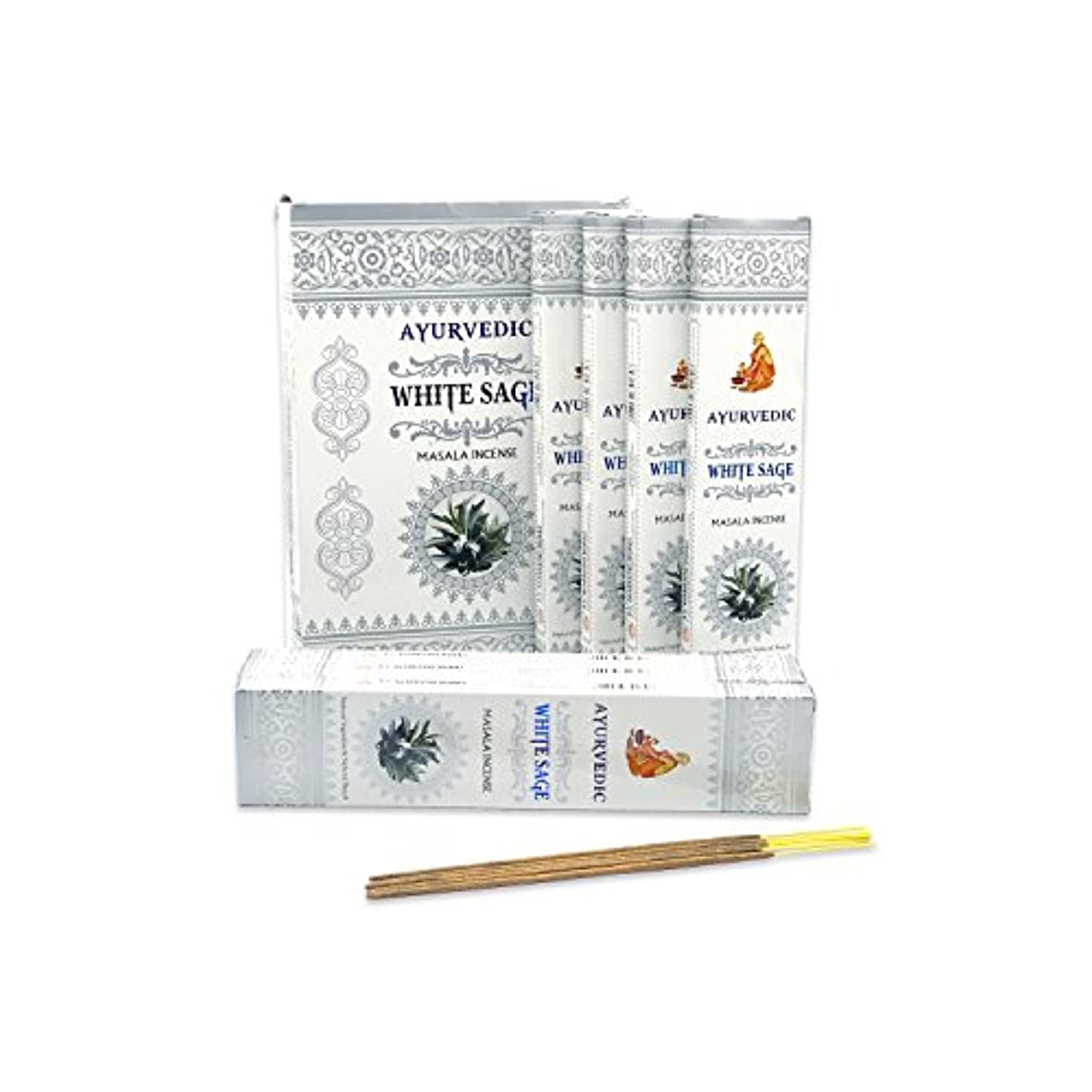 黙認する百旅客AyurvedicホワイトセージMasala Incense Sticks Agarbatti (12パックcontaining 15 sticks各)