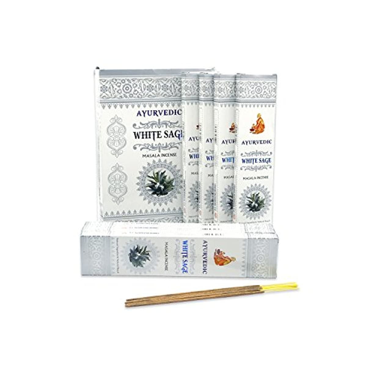アルバニー感動する受賞AyurvedicホワイトセージMasala Incense Sticks Agarbatti (12パックcontaining 15 sticks各)