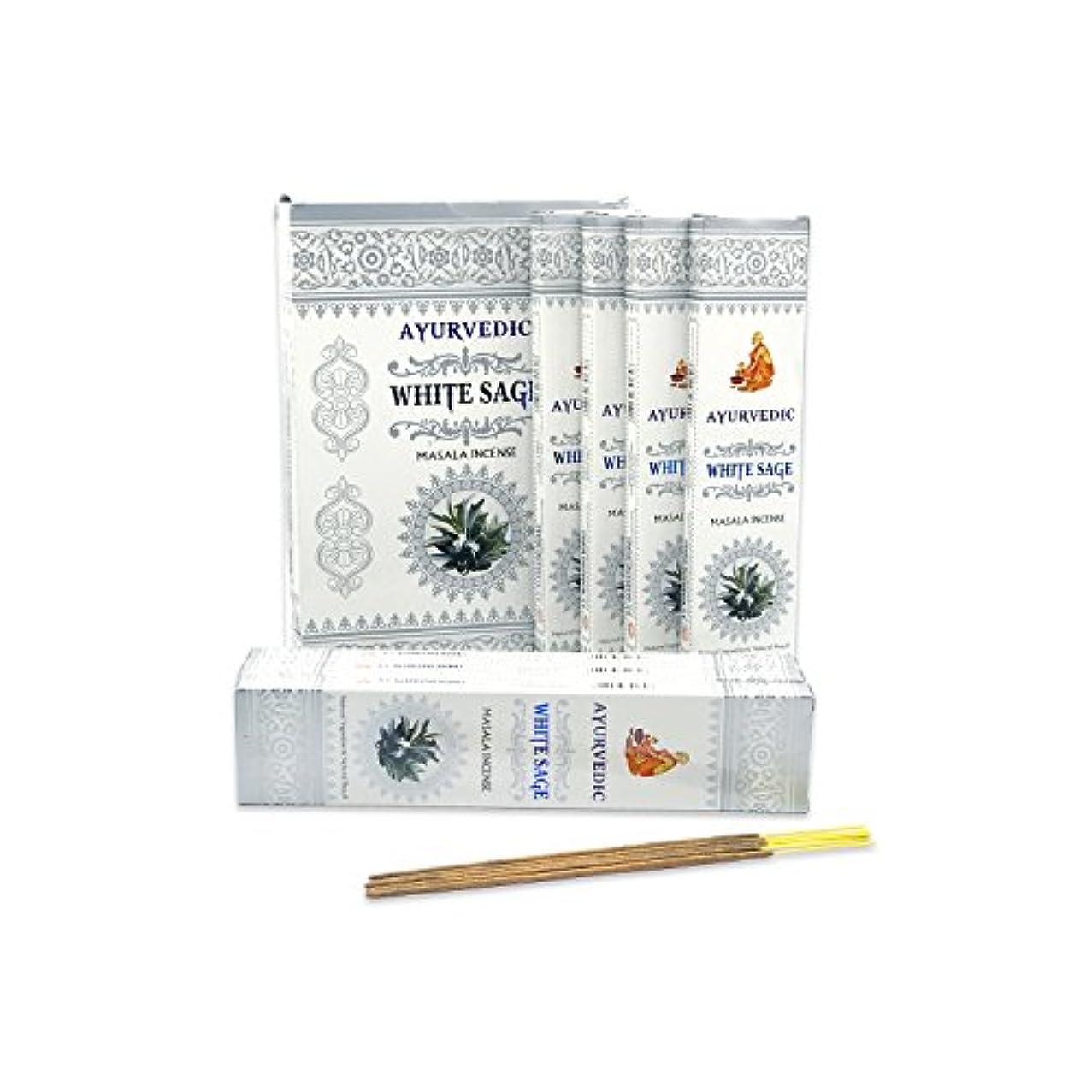 信頼性くつろぐ拍手AyurvedicホワイトセージMasala Incense Sticks Agarbatti (12パックcontaining 15 sticks各)
