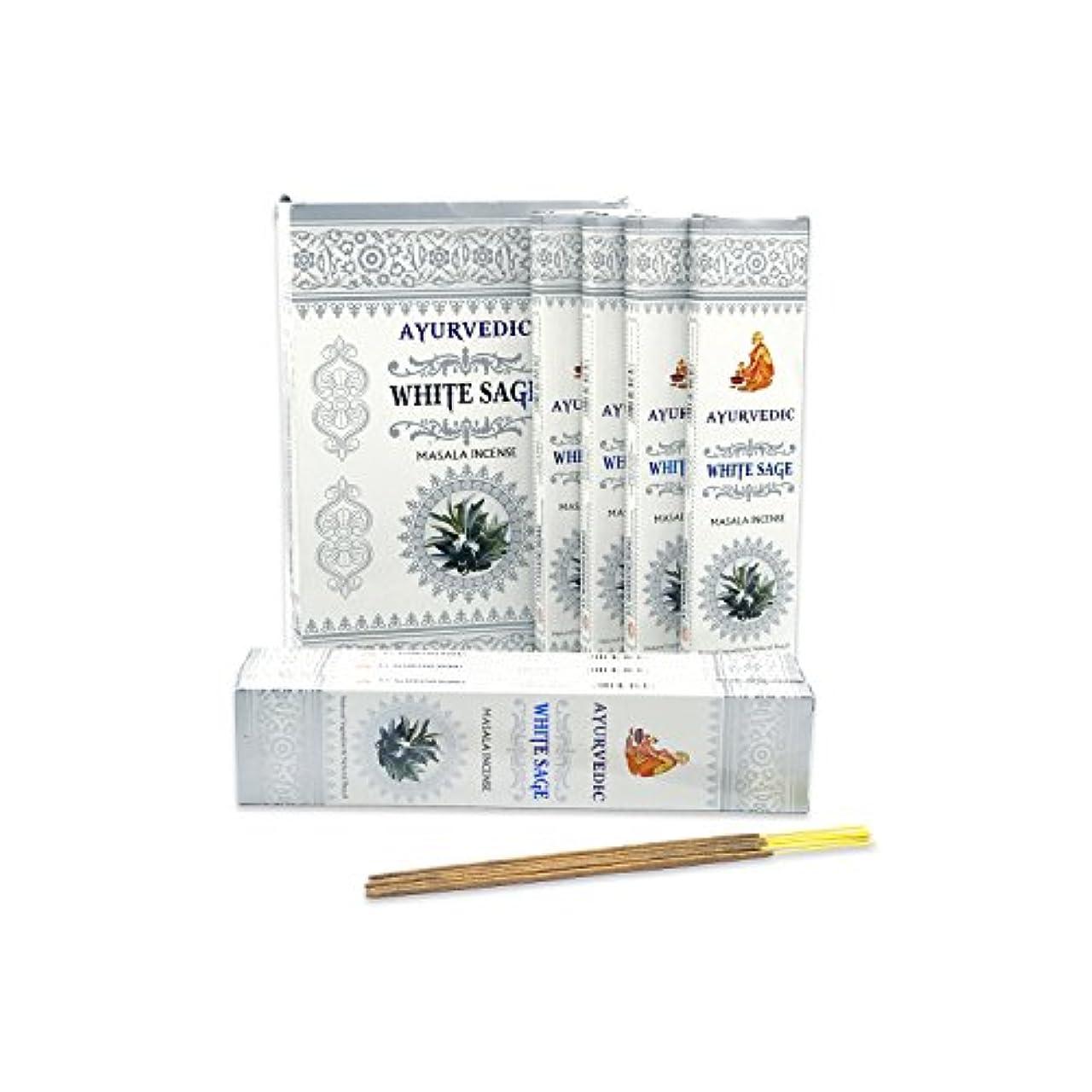 インタビュー花弁慰めAyurvedicホワイトセージMasala Incense Sticks Agarbatti (12パックcontaining 15 sticks各)