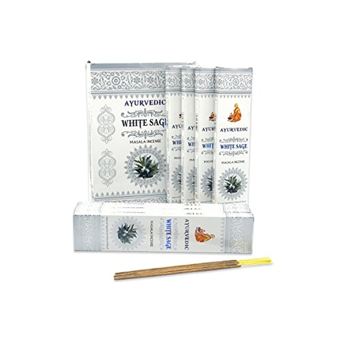 クラックポット水平笑いAyurvedicホワイトセージMasala Incense Sticks Agarbatti (12パックcontaining 15 sticks各)