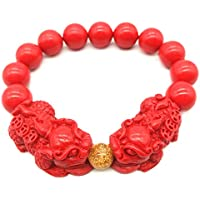 MANRUO Feng Shui Amulet Bracelet Porsperity Cinnabar Bead Bracelet with Charm Red Pi Xiu/Pi Yao Attract Lucky Wealthy Bangle for Women/Men