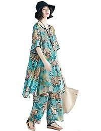 (ニカ) レディース ワイドパンツ サルエルパンツ 夏 レジャー ファッション プルオーバー 体型カバー 上下セット 大きいサイズ 薄手 おしゃれ ロングパンツ