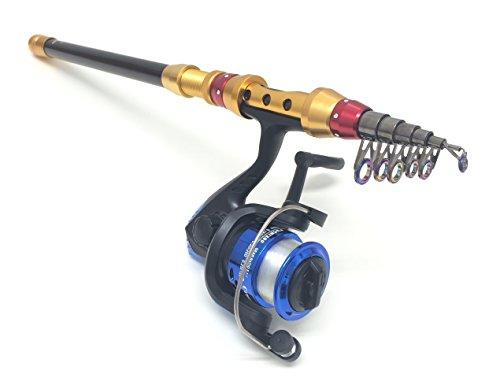【オルルド釣具】 釣り竿 スピニングリールセット(3号糸付) チョイ投げ・サビキ釣り・探り釣り・おかっぱり・堤防釣りなどに 初心者やファミリーフィッシングに最適な軽量伸縮振出しタイプのコンパクトロッド カーボン製/釣竿:240m(伸)43cm(縮) / リ