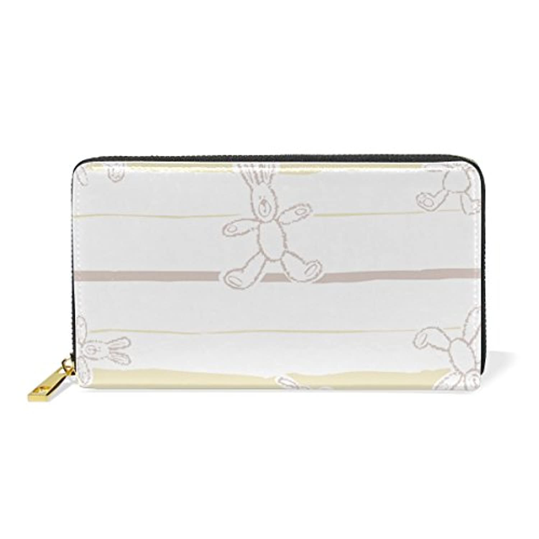 AyuStyle レディース メンズ 長財布 二つ折り 財布 ラウンドファスナー ウォレット かわいい バニー ウサギちゃん うさぎ rabbit カード入れ 現金入れ 大容量