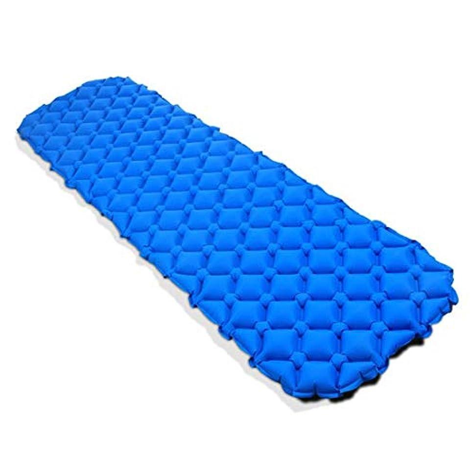 歩行者音節不機嫌CAFUTY キャンプテント寝袋 - 戸外の防湿自動インフレータブルパッドPVC自動インフレータブルパッド単一の縫製することができます (Color : ブルー)