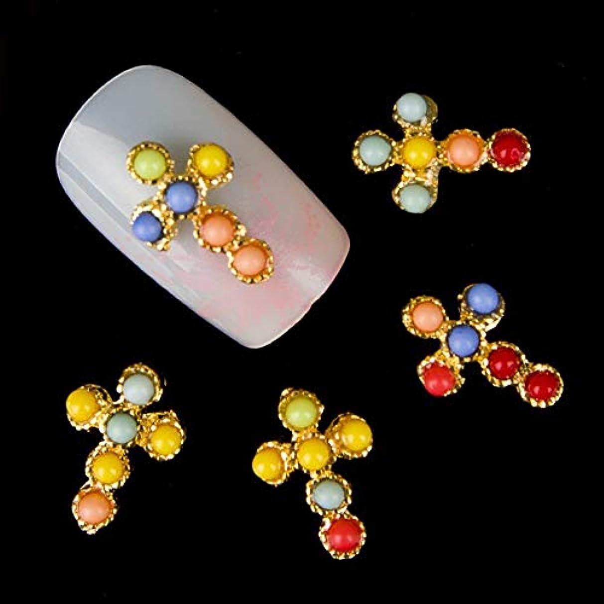 有利ラベンダーシエスタ10個入りグリッターゴールデンクロスラインストーン3Dネイルアートの装飾、マニキュアツール用合金ネイルステッカーチャームジュエリー