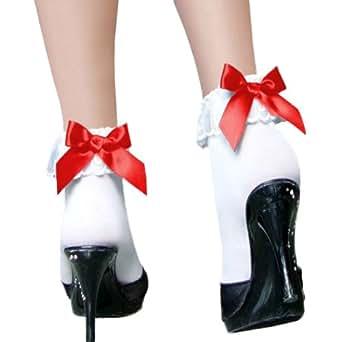 リボンアンクルソックス コスプレ 衣装 コスチューム コスプレ衣装 コス メイド ショート丈 ロリータ 小物 サテン リボン 靴下 アンクルソックス