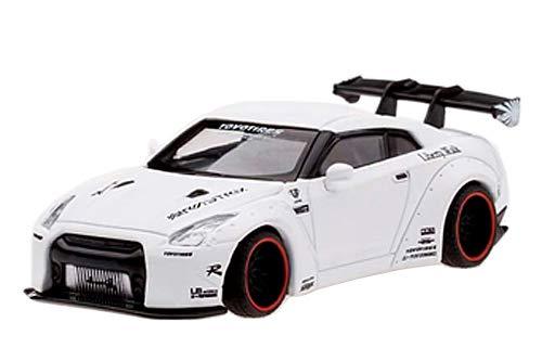 MINI GT 1/64 LB★WORKS ニッサン GT-R R35 GTウイング マットホワイト 右ハンドル 完成品