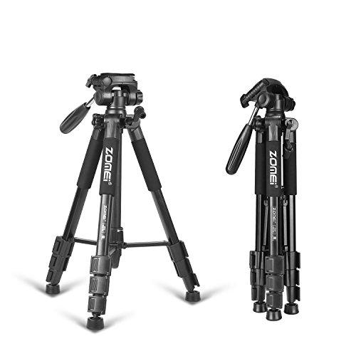 カメラ三脚、 Z666 コンパクト 軽量 トラベル 三脚 レバーロック パノラマ 3ウェイピンヘッド 簡単に調整 キヤノン、ニコン、ソニー、オリンパスのカメラDVに対応 キャリングケース付き(黒)