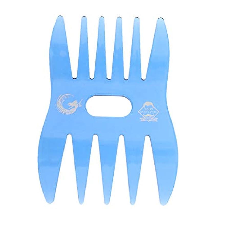 P Prettyia ヘアコーム ヘアブラシ デュアルサイド ワイド 細かい歯 プロ ヘアスタイリスト 櫛 4色選べ - 青