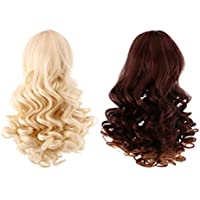 Lovoski 2個セット 人形 ウィッグ  波状  カーリーヘア 巻き 髪  かつら  18インチアメリガール人形用  全6色選ぶ - カラー3