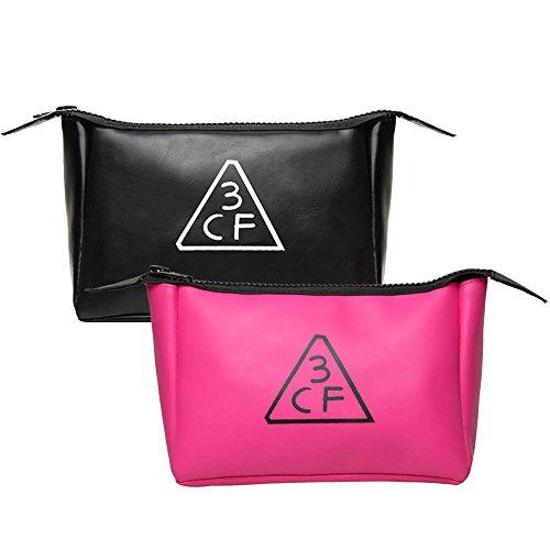 韓国コスメ 化粧ポーチ レディース PINK Style 人気 コスメポーチ スタイルナンダ ポーチ 大容量 かわいい ピンク 黒 小さい ブランド(黒)