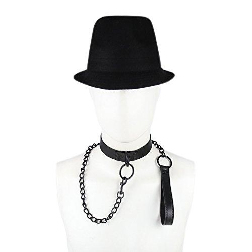SMグッズ 首輪 首枷 チェーン リード コスプレ 大人の玩具成人用(黒)