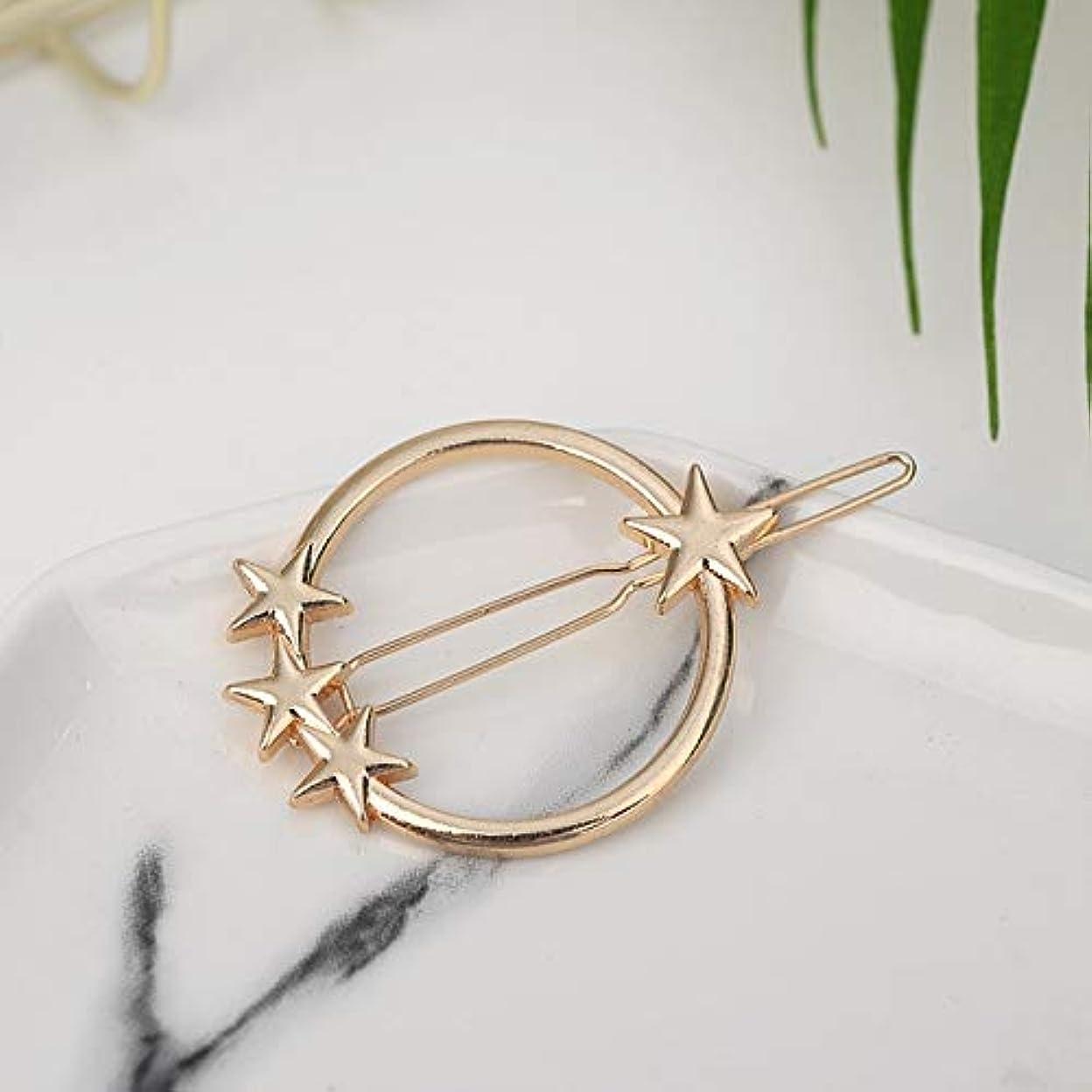 たとえ自体差Hairpinheair YHM 2ピースファッション女性ヘアアクセサリートライアングルヘアクリップピンメタル幾何学的合金ヘアバンド(ムーンゴールド) (色 : Round-star gold)