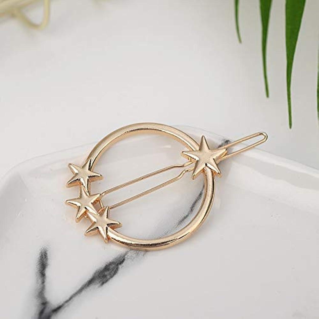 楽な注入する細菌Hairpinheair YHM 2ピースファッション女性ヘアアクセサリートライアングルヘアクリップピンメタル幾何学的合金ヘアバンド(ムーンゴールド) (色 : Round-star gold)