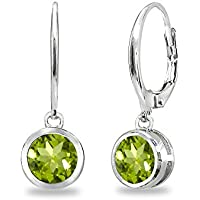 Sterling Silver Genuine, Simulated or Created Gemstone 6mm Round Bezel-Set Dangle Leverback Earrings