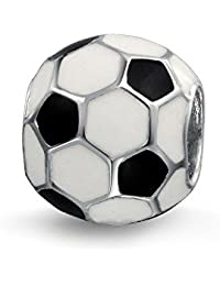 Black White Soccer Ball Mom Football Player Sports Athletic Charm Bead For Women Sterling Silver Fit European Bracelet