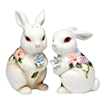 Stealstreet Pair of White Bunny Couple with Flowers Salt and Pepper Collectible