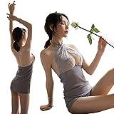 B.ANGEL セクシー ランジェリー 可愛い 優雅な花柄刺繍 ベビードール ハンギングネック 薄い 透け 誘惑パジャマ セクシー レース Tストリング (1109H)