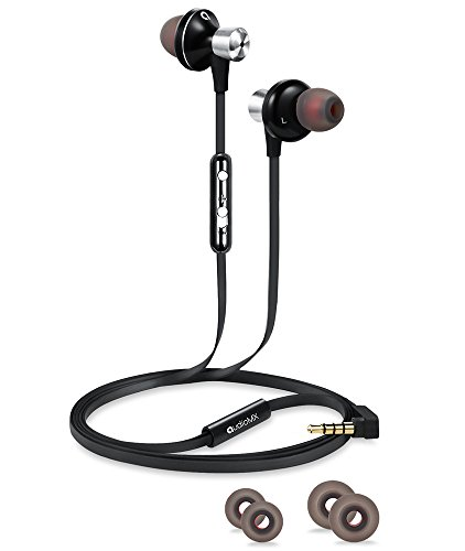 AudioMX カナル型イヤホン 密閉型インナーイヤ ステレオイヤフォン マイク付き 音量調節 ブラック EM-12B