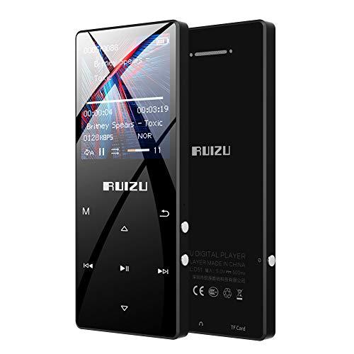RUIZU MP3プレーヤー Bluetooth 4.1 デジタルオーディオプレーヤー HiFi 高音質 16GB内蔵 128GB 拡張可能 合金製 内蔵スピーカー ボイスレコーダー ミュージックプレーヤー FMラジオ D51 ブラック
