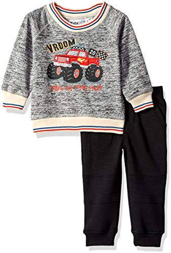 Kids Headquarters Baby Boys 2 Pieces Pullover Pant Set, Charcoal, 24M
