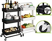 BOOMJOY Stainless Steel Shelving | 3 Tier Trolley | Kitchen | Organizer (BLACK)