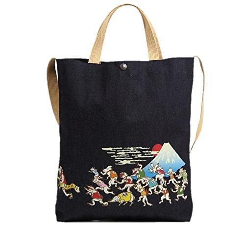 倉敷デニム 2WAY トートバッグ ショルダーバッグ 和柄 日本製 (鳥獣富士山マラソン)