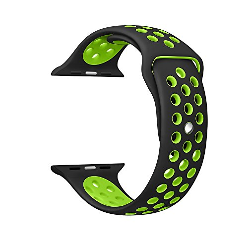 Kartice Apple Watch Nike +/Apple Watch/Apple Watch Series 2 バンド ソフトシリコンバンド スポーツバンド シリコンアダプター付き (42mm, 黒+緑)