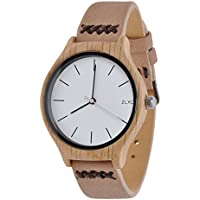 Women Leather Band Wood Watch ZLYC Ebony Quartz Wooden Watches, Christmas Gift For Ladies