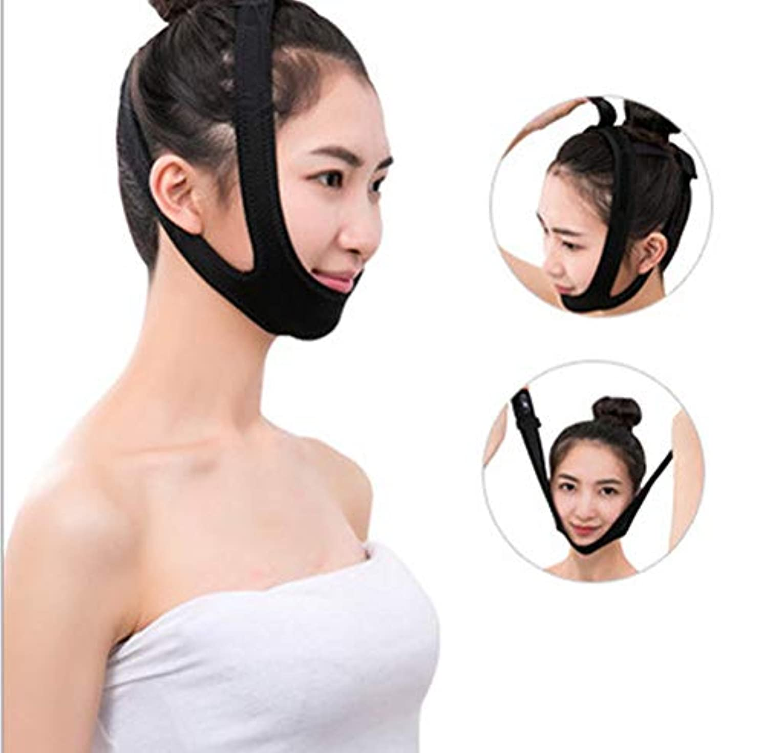 のためにバスケットボールダイジェストLquide薄いフェイスマスク包帯タイトリフティングライン彫刻形状強化V顔睡眠薄いフェイスマスクブラックプロフェッショナル