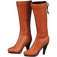 【ノーブランド品】 1/6スケール 人形用 女性  ミッドカーフ  膝丈  ブーツ  ジップ  シューズ  12 インチフィギュアモデル用 - オレンジ