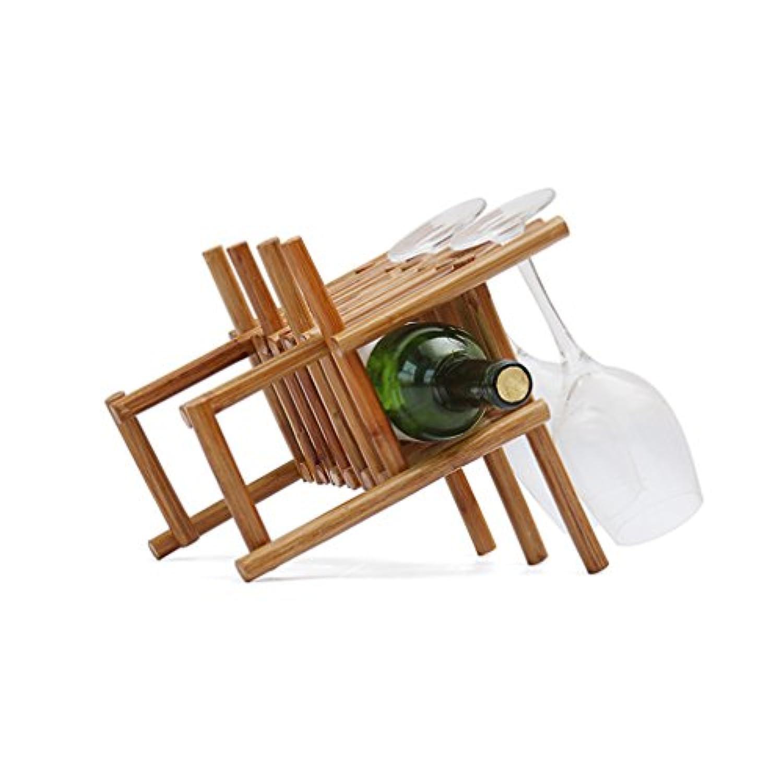 木製ワインラック6瓶カウンタートップフリースタンディングワインボトルホルダーホームインテリア(サイズ:28.5 * 20.5 * 23cm)