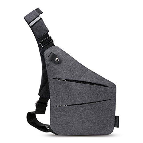 斜めがけバッグ ボディバック ワンショルダーバック 通勤バック 防犯盗難防止 軽量 防水 大容量(グレー)