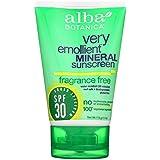 Alba Botanica 敏感なミネラル日焼け止め無香料、SPF 30 4オズ
