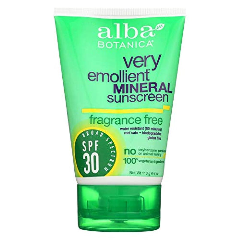 性能伴う番号Alba Botanica 敏感なミネラル日焼け止め無香料、SPF 30 4オズ