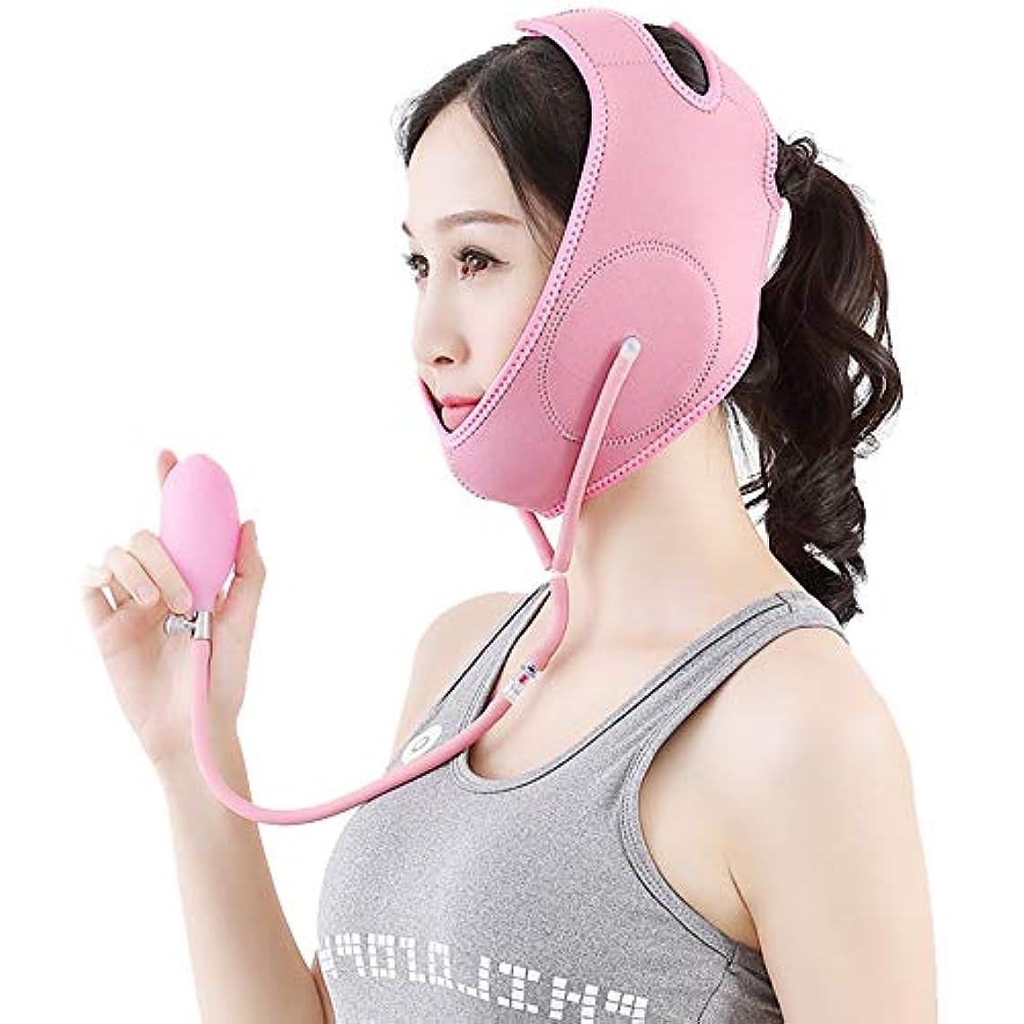 角度縞模様の敬意XINGZHE フェイシャルリフティング痩身ベルトダブルエアバッグ圧力調整フェイス包帯マスク整形マスクが顔を引き締める フェイスリフティングベルト (色 : ピンク, サイズ さいず : M)
