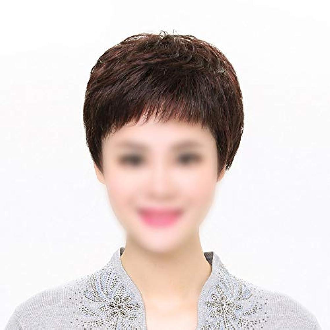 修道院漏れハブブYOUQIU 女性のかつらのために前髪人毛かつら、100%本物の人間の髪の毛無料パートショートスタイリッシュなウィッグ (色 : 黒, Edition : Mechanism)