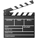 """Movie Film Clap Board, Hollywood Clapper Board Wooden Film Movie Clapboard Accessory with Black & White, 12""""x11"""" Give Away Wh"""