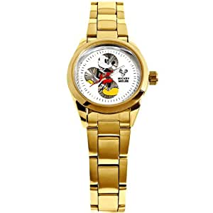 Disney ディズニー 天然ダイヤ使用 シークレット ミッキー 腕時計 レディースサイズ ゴールド×ホワイト [並行輸入品] [時計]