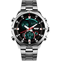 SKMEI Men Analog Digital Watches Silver with Stainless Steel Band