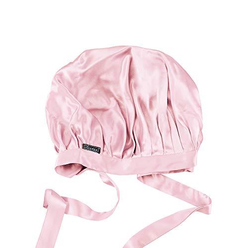 LilySilk(リリーシルク)天然シルク100% ナイトキャップ 枝毛防止 保湿美髪 ロングヘア用 お休みキャップ 就寝用 産後用 (1/4周ゴム/ピンク)