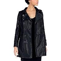 DISSA PAW16 Women Faux Leather Long Coat Slim Coat Leather Jacket