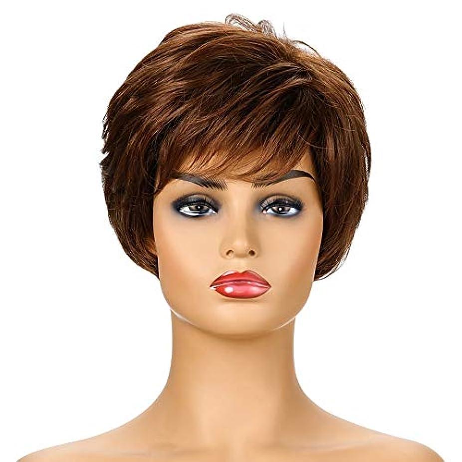 位置づけるジェット作家女性の短い茶色の巻き毛のかつら、女性の側部のかつら、黒人女性のための自然なかつら、合成衣装ハロウィンコスプレパーティーウィッグ(ウィッグキャップ付き)