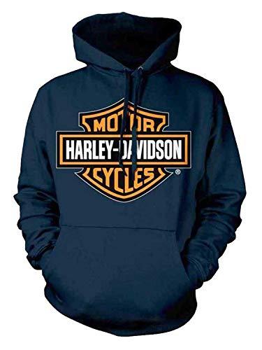 [(ハーレーダビッドソン) Harley-Davidson] [Men`s Orange Bar & Shield Navy Pullover Sweatshirt 30291742] (並行輸入品)