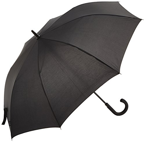 PLEMO 長傘 自動開けステッキ傘 紳士傘 耐風傘 撥水加工 梅雨対策 ブラック 112センチ