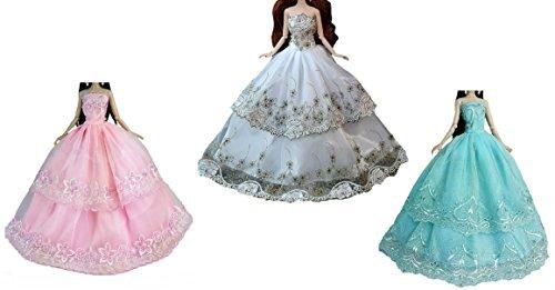 刺繍 レース デザイン 1/6 ドール 人形 用 ドレス洋装 セット 着せ替え 洋服 コレクター (3着)